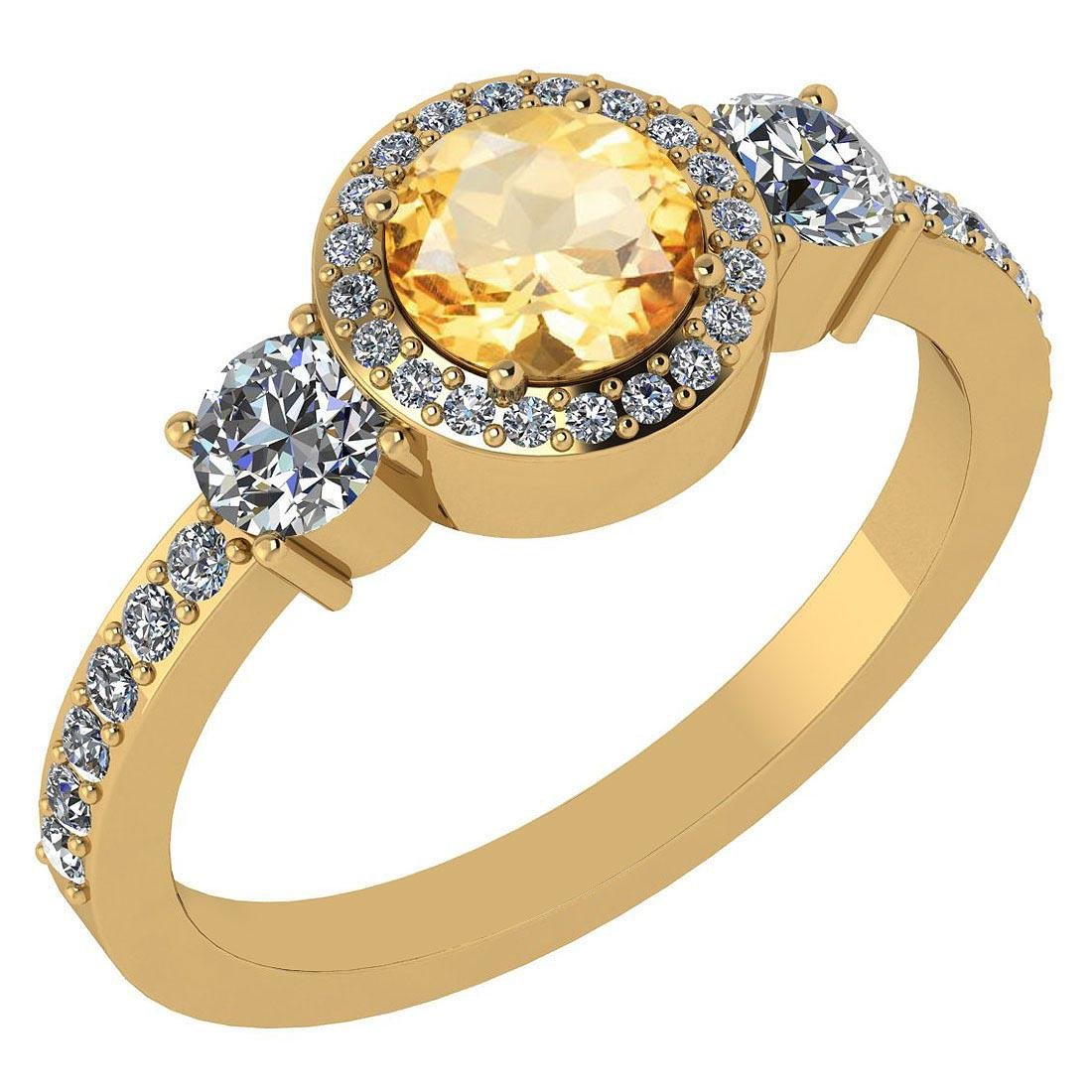 Certified 1.51 Ctw Citrine And Diamond 14k Yellow Gold