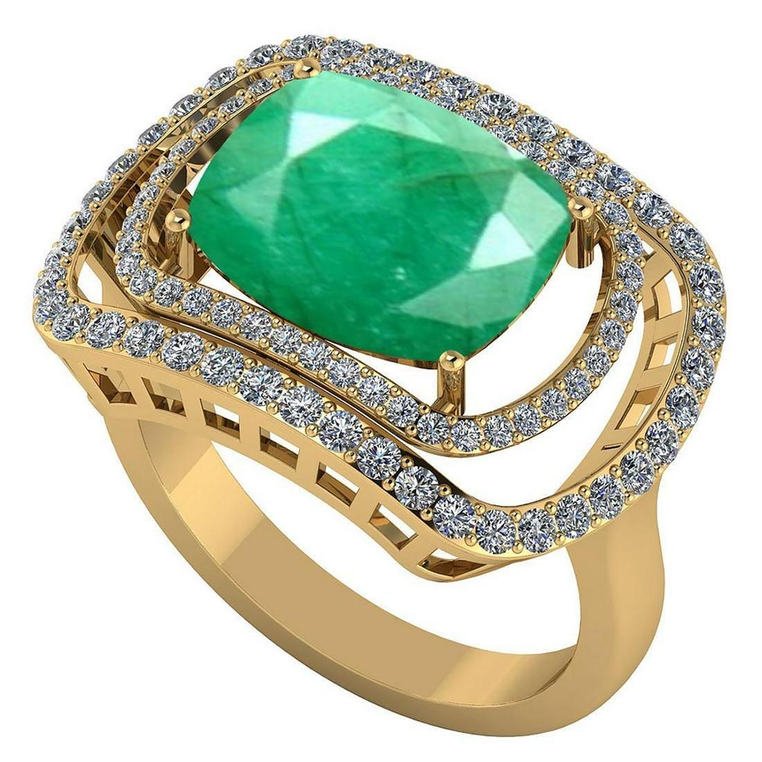 Certified 3.50 CTW Genuine Emerlad And Diamond 14K Yell