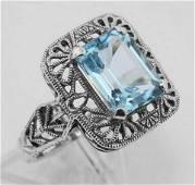 Classic Art Deco Style Blue Topaz Filigree Ring Sterl