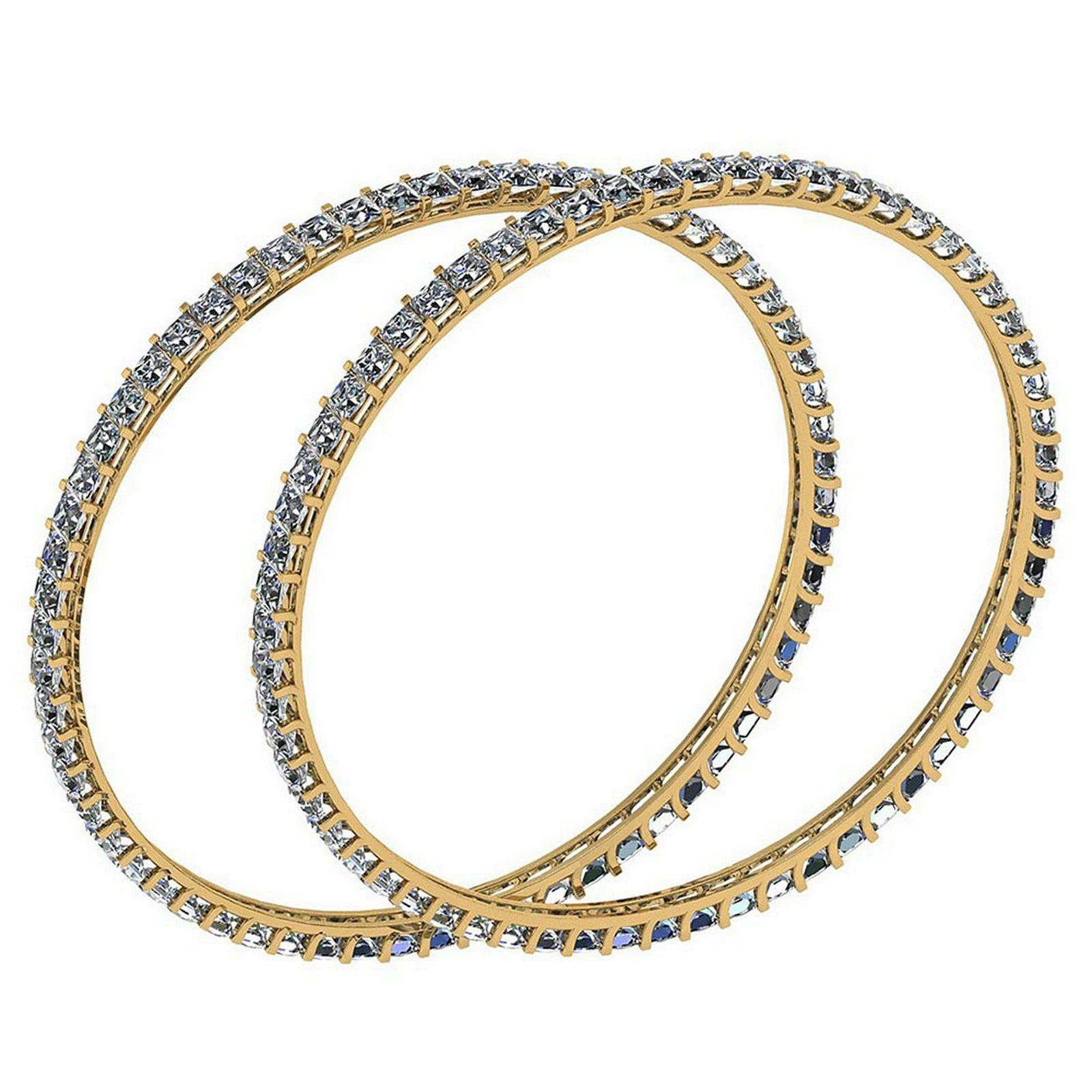 Certified 12.40 Ctw Diamond VS/SI1 Bangles 14K Yellow G