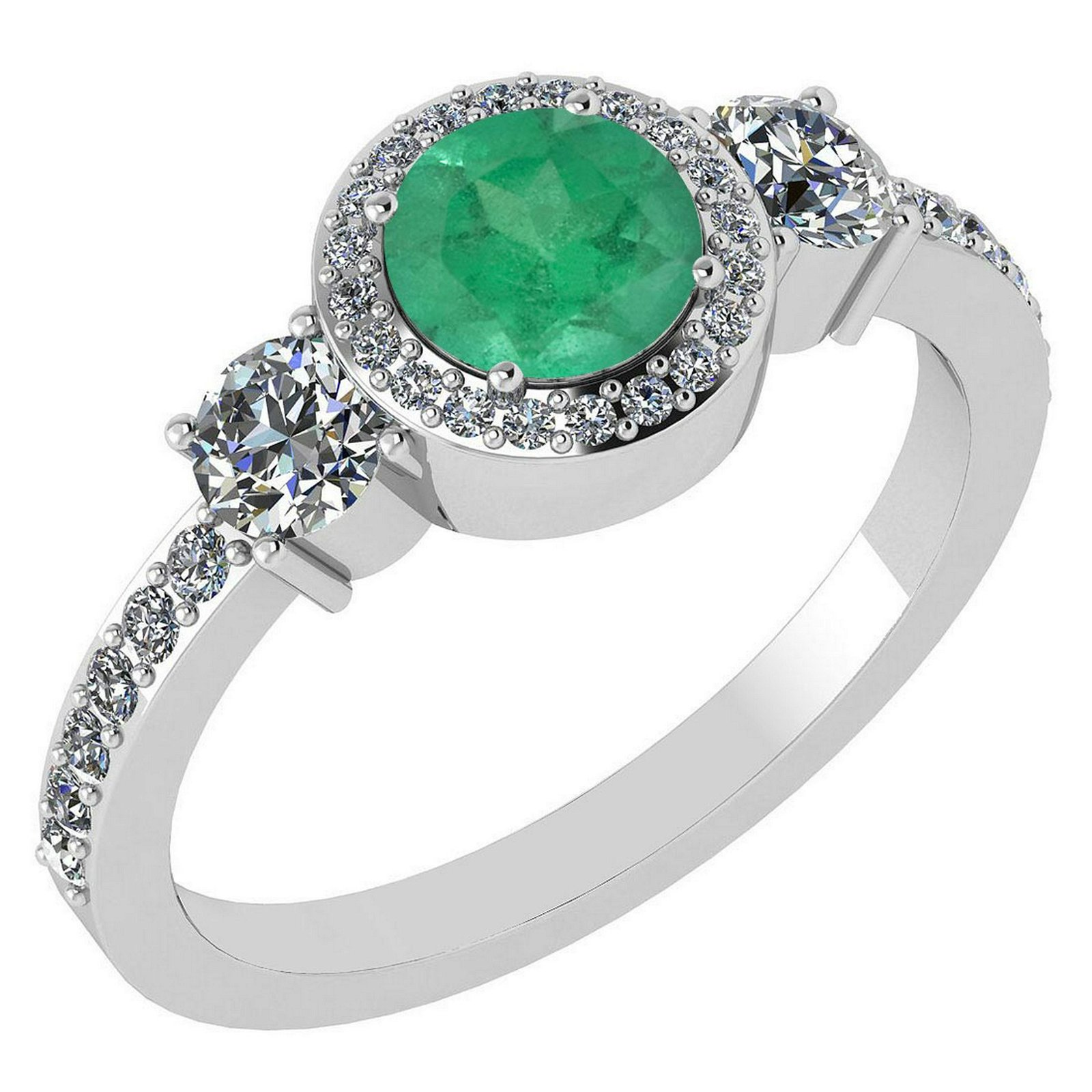 Certified 1.51 Ctw Emerald And Diamond 14k White Gold H