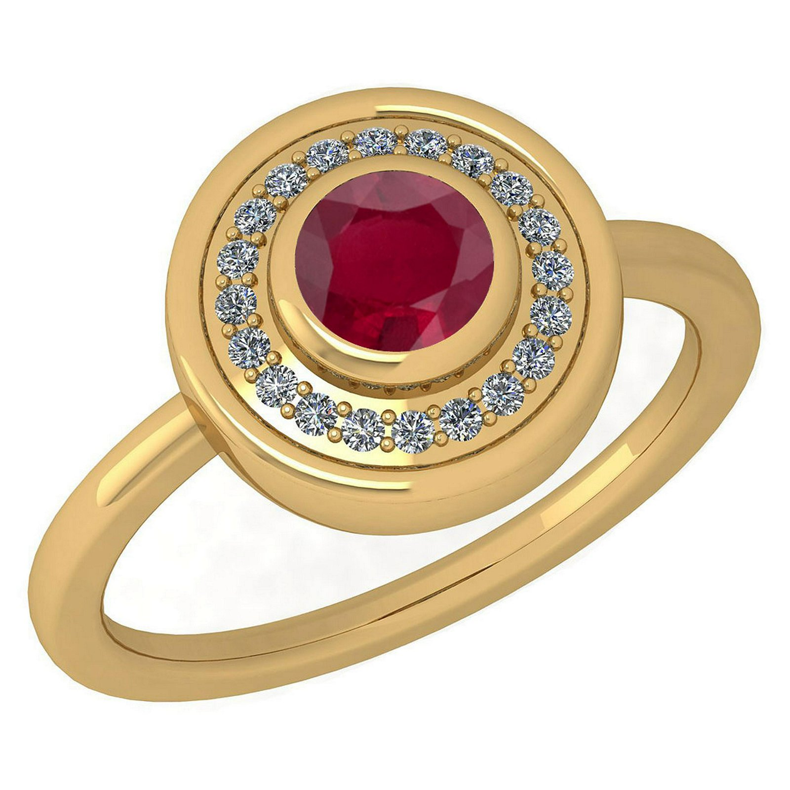 Certified 0.62 Ctw Ruby And Diamond Ladies Fashion Halo