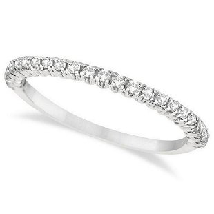 3744676127bc4 Half-Eternity Pave-Set Thin Diamond Stacking Ring 14k W - Aug 17 ...