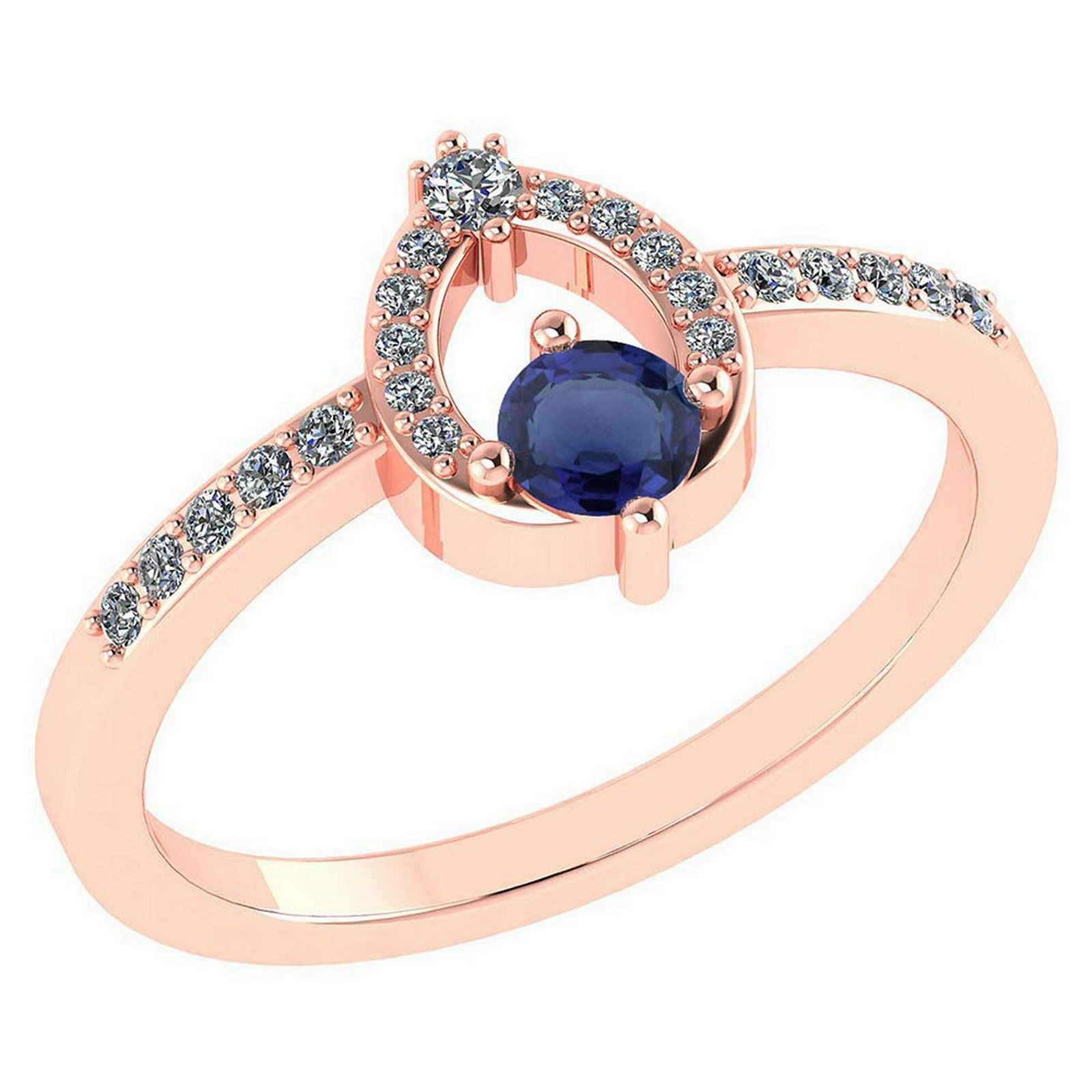 Certified .36 CTW Genuine Blue Sapphire And Diamond (G-