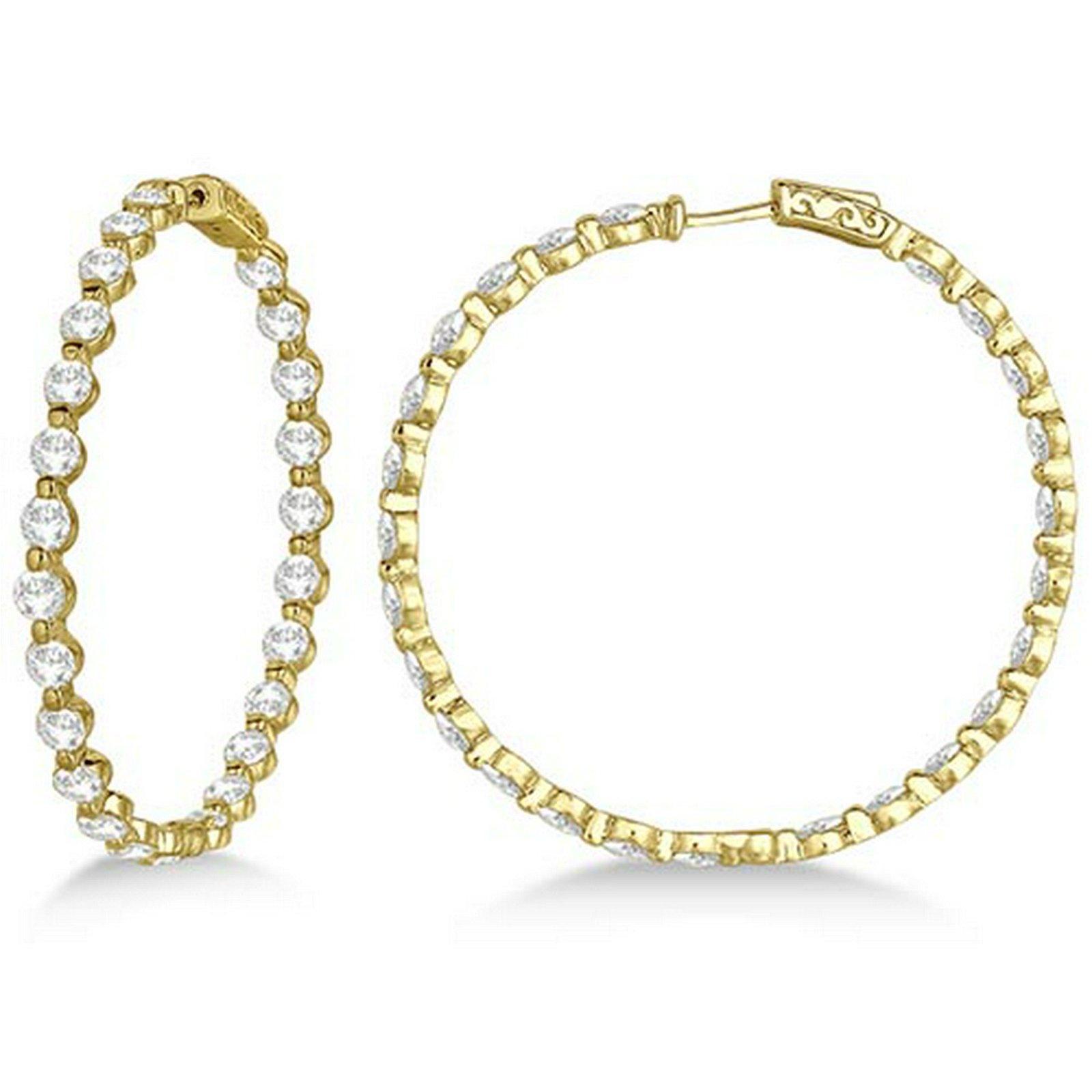 Large Round Floating Diamond Hoop Earrings 14k Yellow G