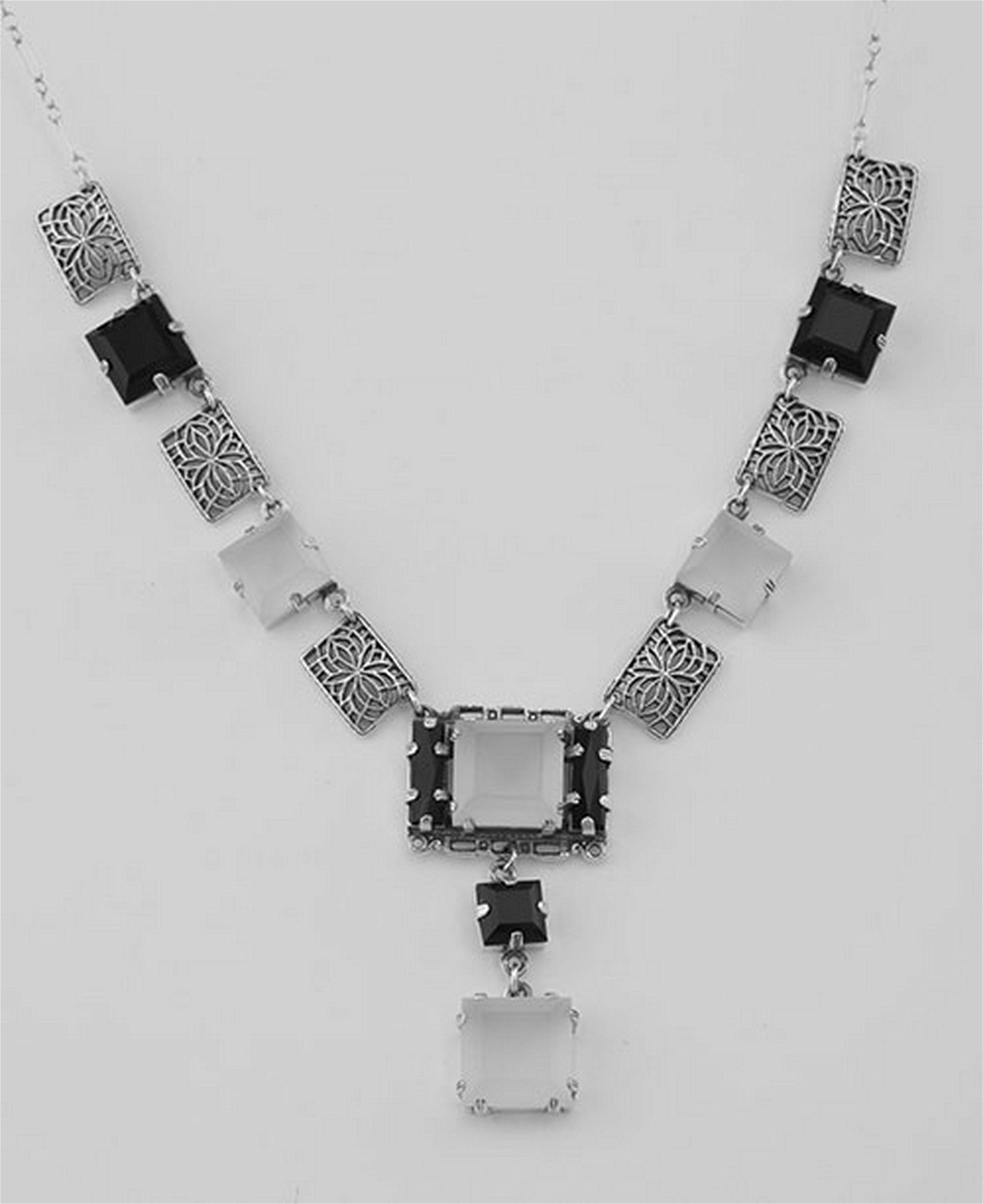 Art Deco Style Onyx and Quartz Crystal Necklace - Sterl