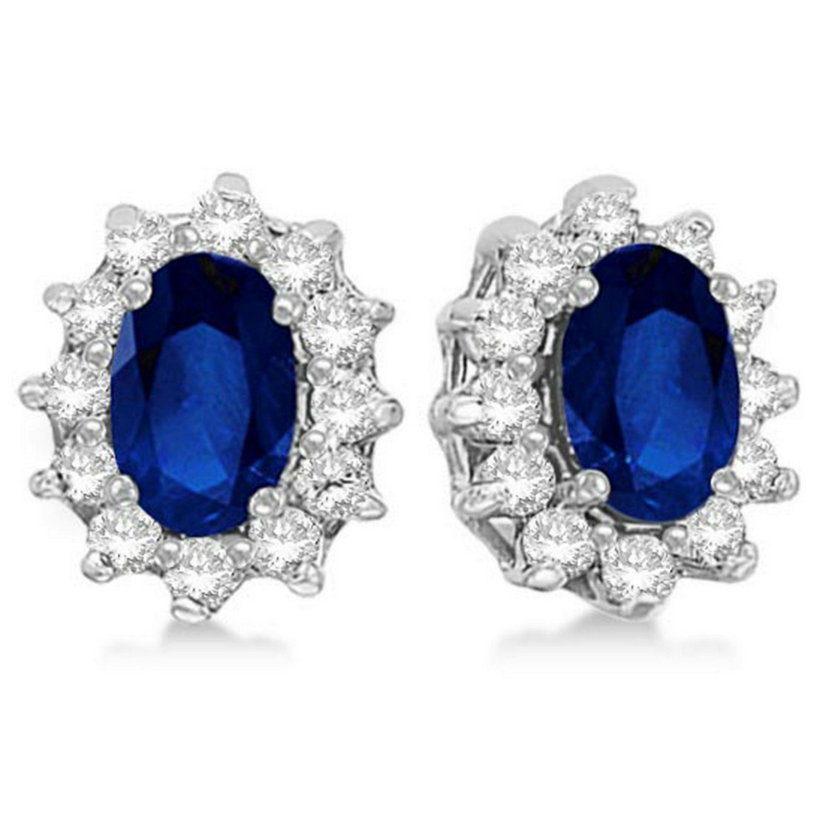 Oval Blue Sapphire and Diamond Accented Earrings 14k Wh