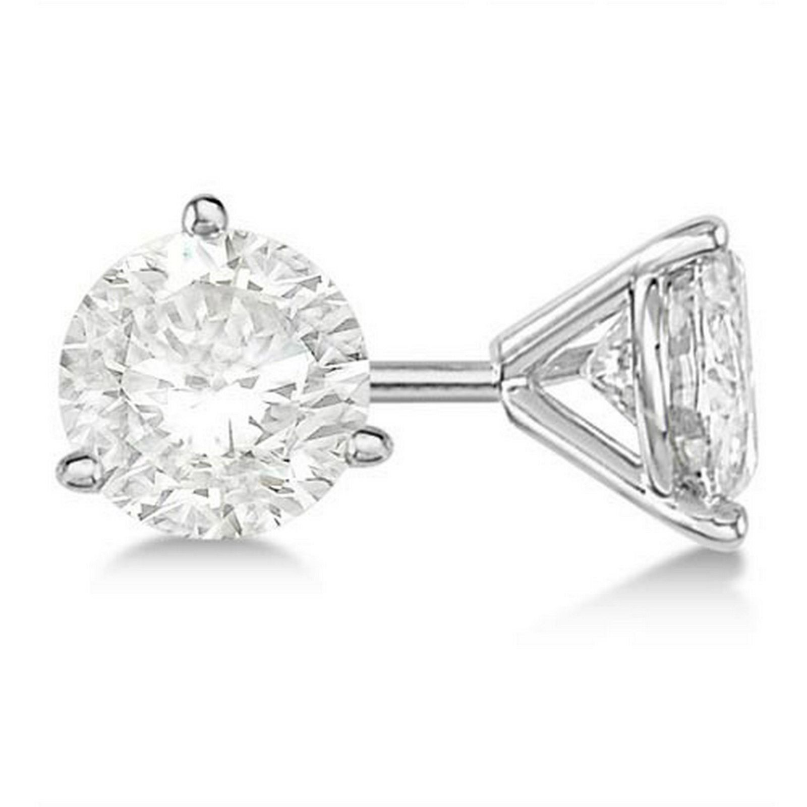 0.75ct. 3-Prong Martini Diamond Stud Earrings 14kt Whit