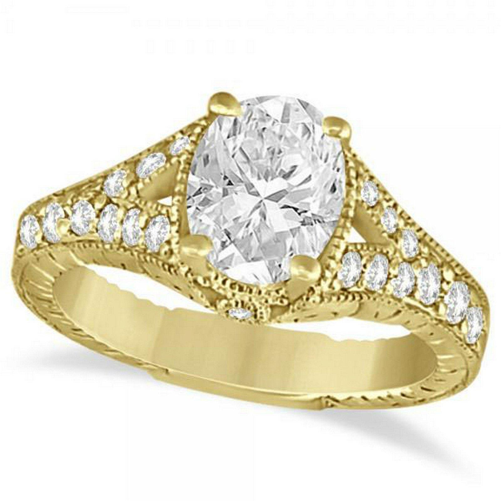 Antique Art Deco Oval Diamond Engagement Ring 14K Yello