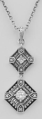 Art Deco CZ Filigree Necklace with 18 Inch Adjustable C
