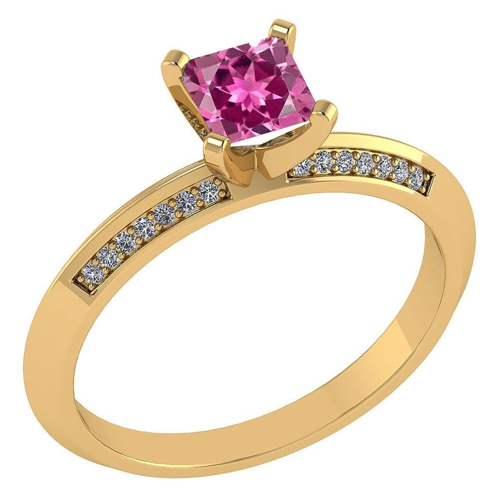 Certified .89 CTW Genuine Pink Touramline And Diamond 1