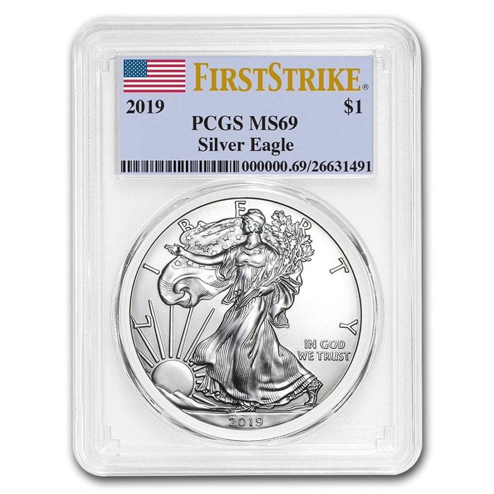 Certified Uncirculated Silver Eagle 2019 MS69 PCGS Firs