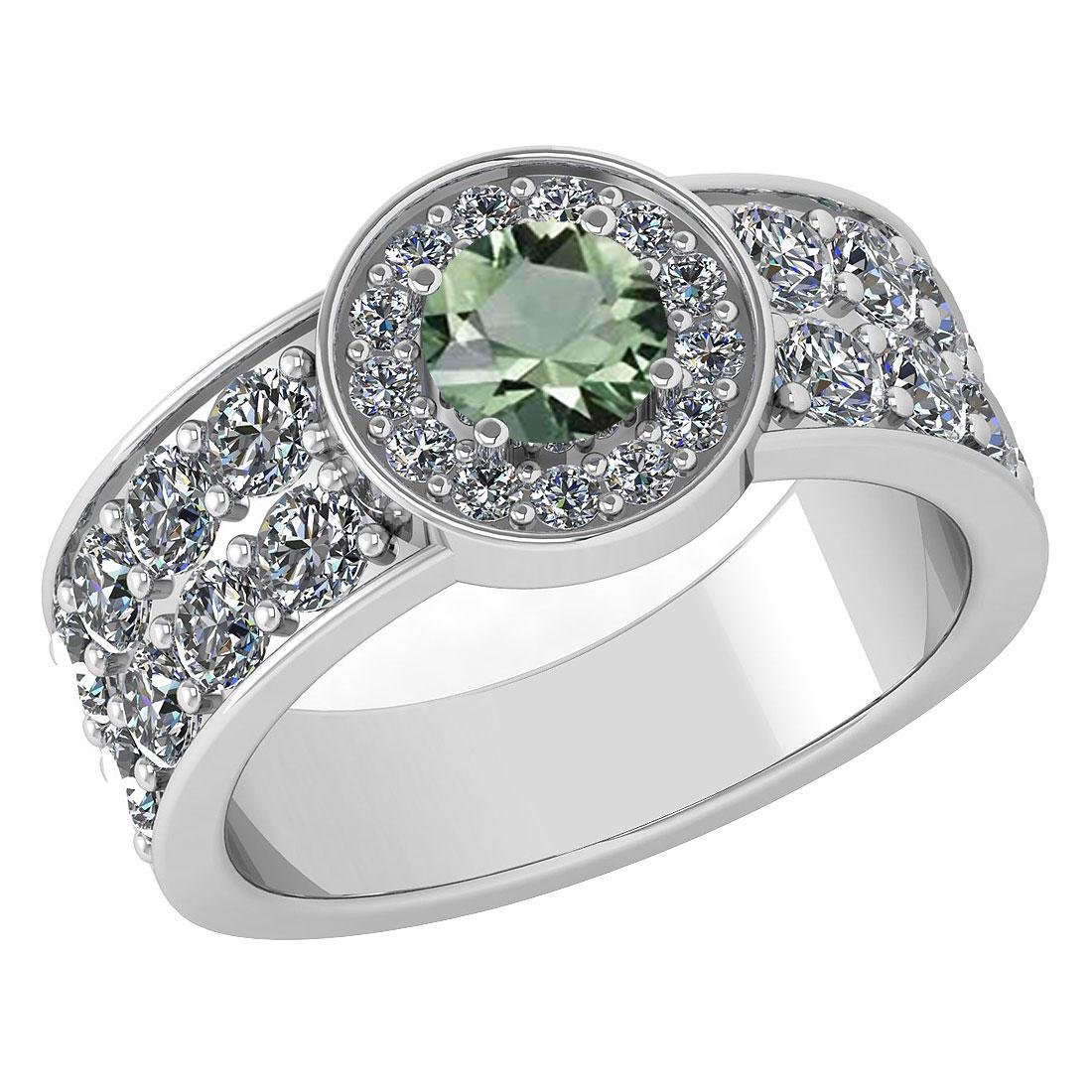 Certified 1.88 Ctw Green Amethyst And Diamond Ladies Fa