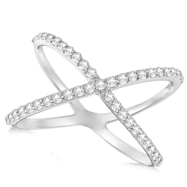 X Shaped Ring with Diamonds Abstract Design 14k White