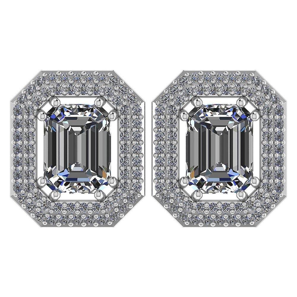 3.71 Ctw Diamond 14k White Gold Halo Stud Earrings VS/S