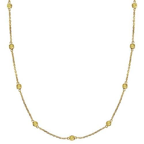 Fancy Yellow Canary Diamonds by The Yard Necklace 14k G