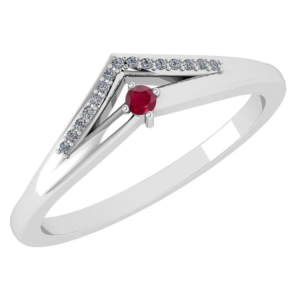 Certified 0.07 Ctw Ruby And Diamond 18k White Gold Halo