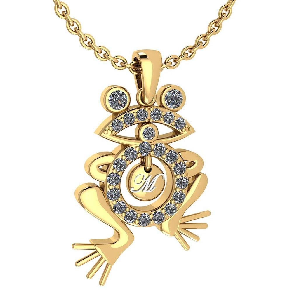 Certified 0.66 Ctw Diamond Frog Necklace Animal New col