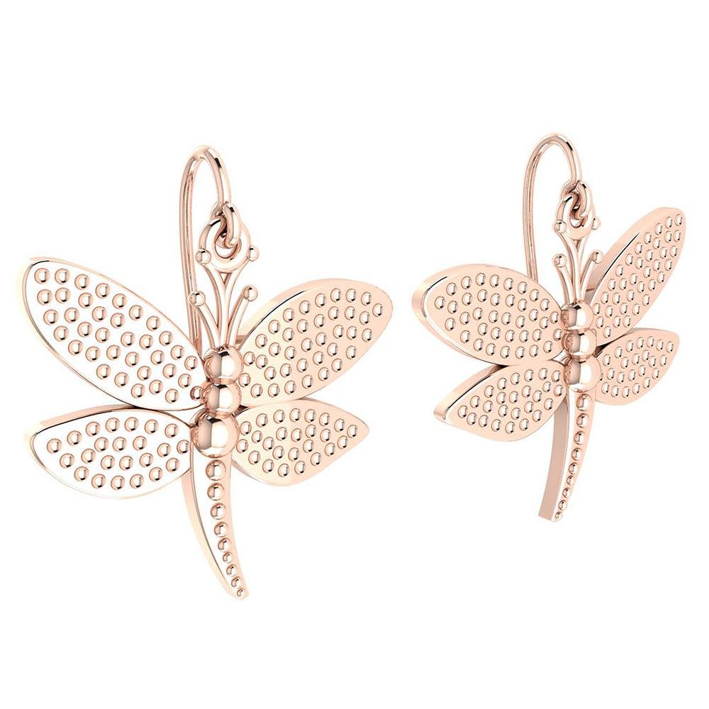 Gold Butterfly Wire Hook Earrings 14K Rose Gold Made In