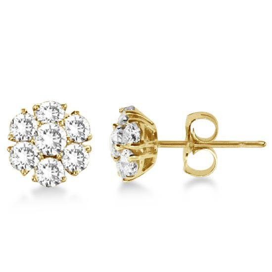 Diamond Flower Cluster Earrings in 14K Yellow Gold (3.0