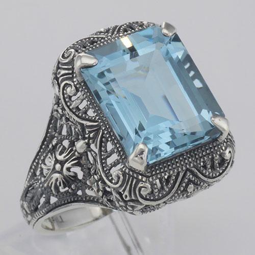 Art Deco Style Genuine Emerald Cut Blue Topaz Ring - St