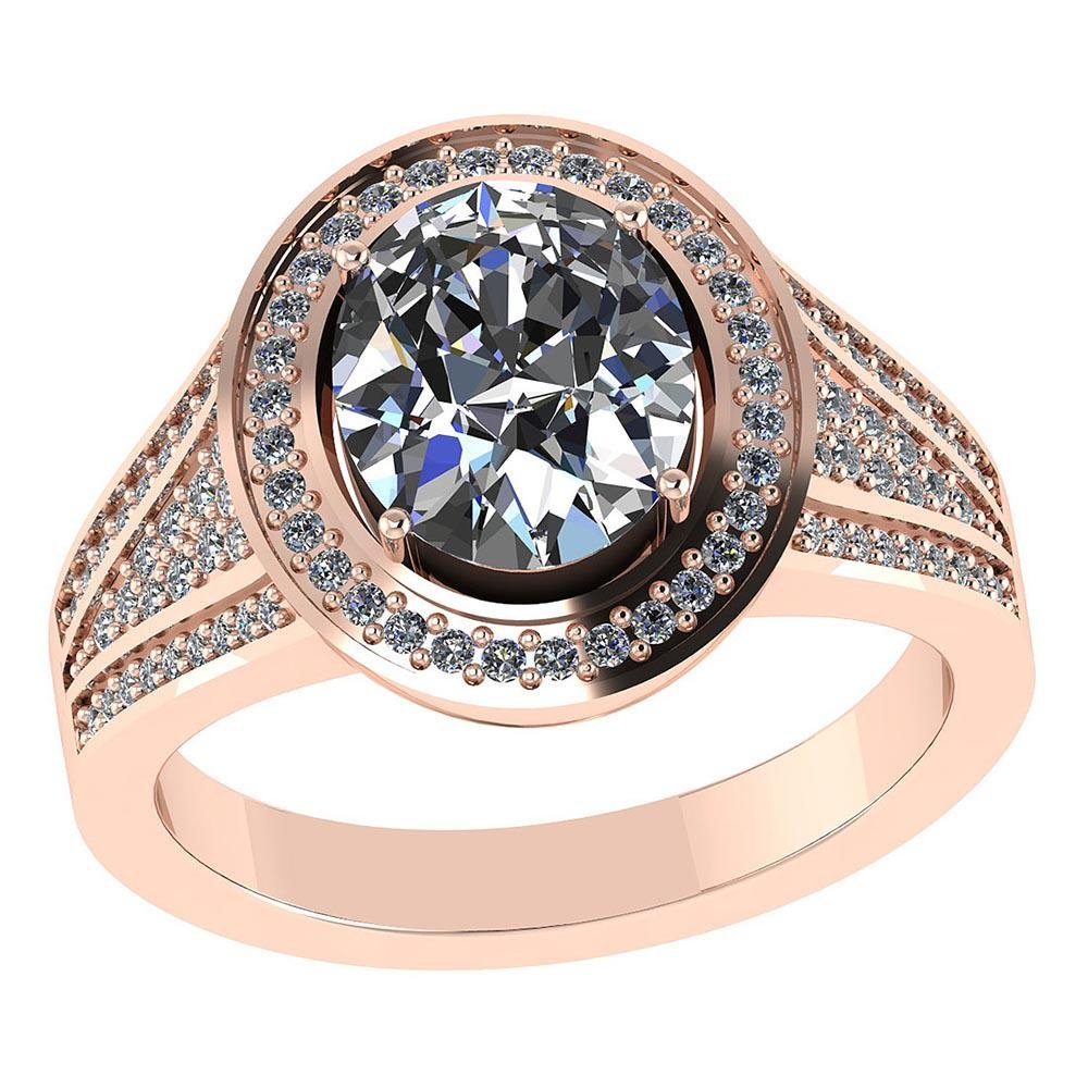 Certified 1.80 CTW Round and Cut Diamond 14K Rose Gold
