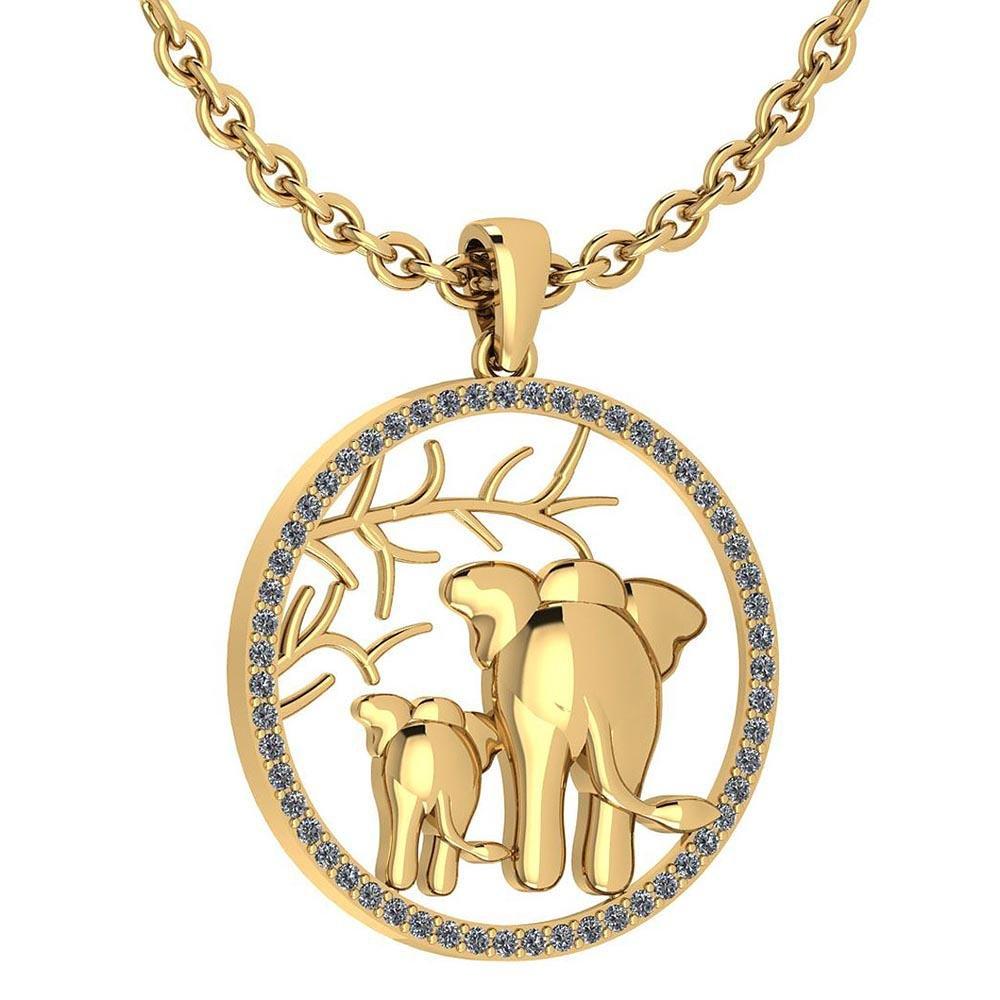 Certified 0.44 Ctw Diamond VS/SI1 Elephant With Baby El