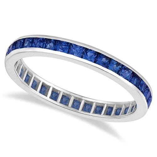 Princess-Cut Blue Sapphire Eternity Ring Band 14k White