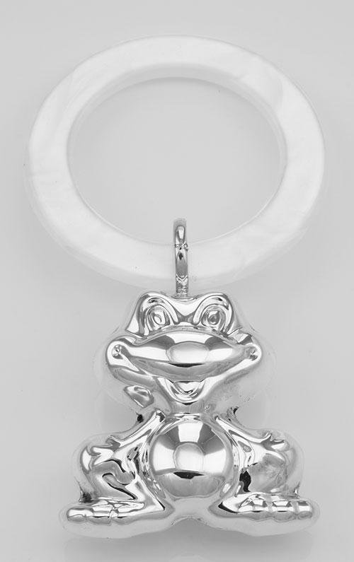 Sterling Silver Frog Rattle Simulated Mother of Pearl T