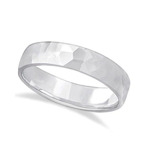 Mens Hammered Finished Carved Band Wedding Ring Platin