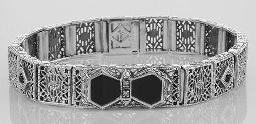 Art Deco Style Filigree Link Bracelet Black Onyx & Diam