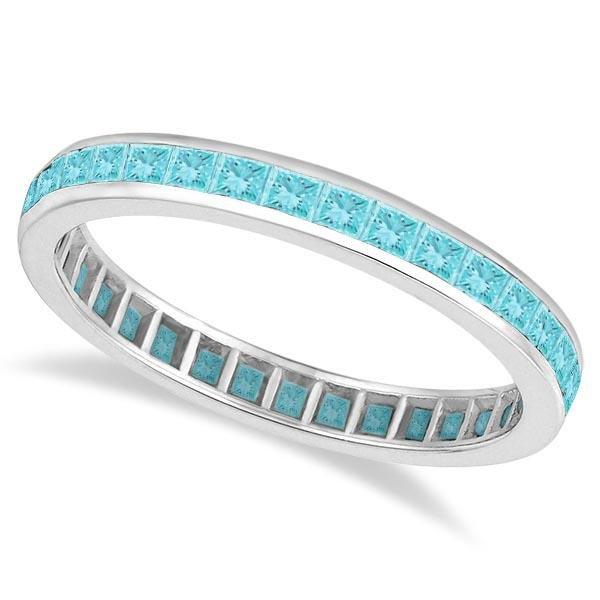 Princess-Cut Aquamarine Eternity Ring Band 14k White Go