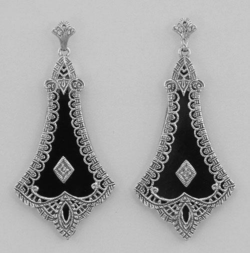 Art Deco Style Black Onyx Filigree Earrings with Diamon