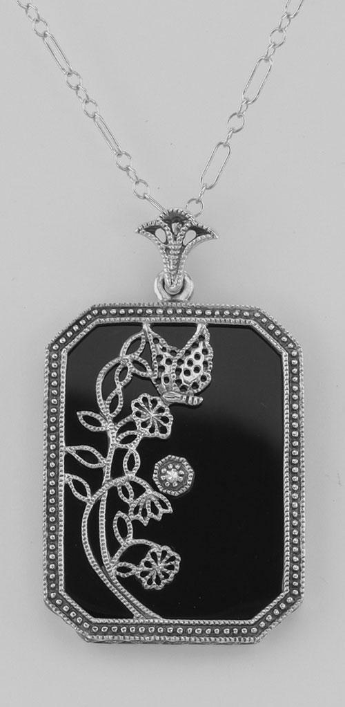 Art Deco Style Onyx / Diamond Pendant with Chain - Ster
