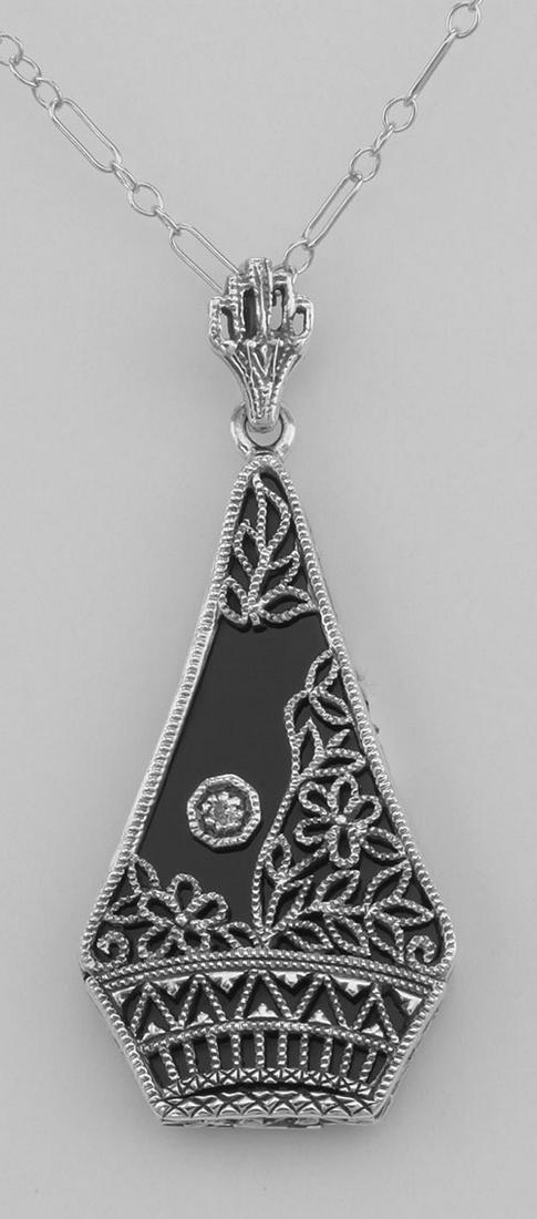 Art Deco Style Black Onyx Filigree Pendant w/ Diamond -