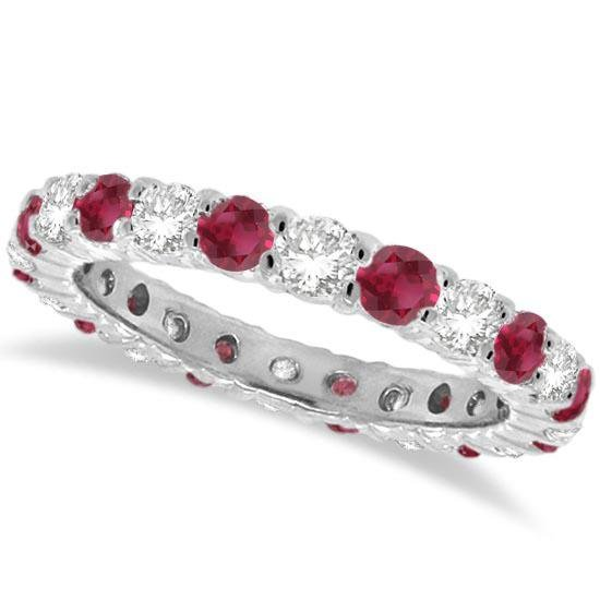 Red Garnet and Diamond Eternity Ring Band 14k White Gol