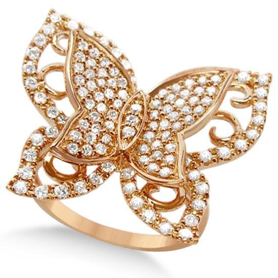 Contemporary Butterfly Shaped Diamond Ring 14k Rose Gol