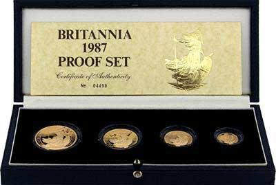 Great Britain 4-Piece Proof Gold Britannia Set 1987