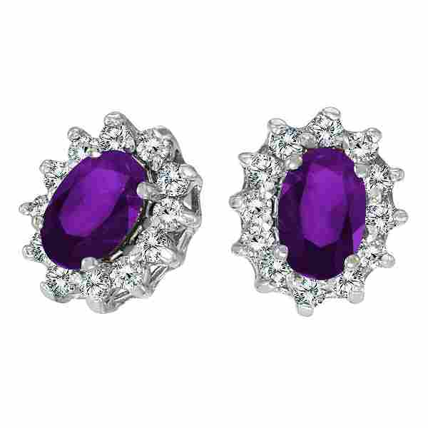 Certified 10k White Gold Oval Amethyst and .25 total CT