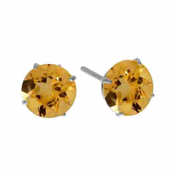 Certified 6mm Round 14k White Gold Citrine Stud Earring