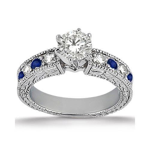 Antique Diamond and Blue Sapphire Engagement Ring Plati
