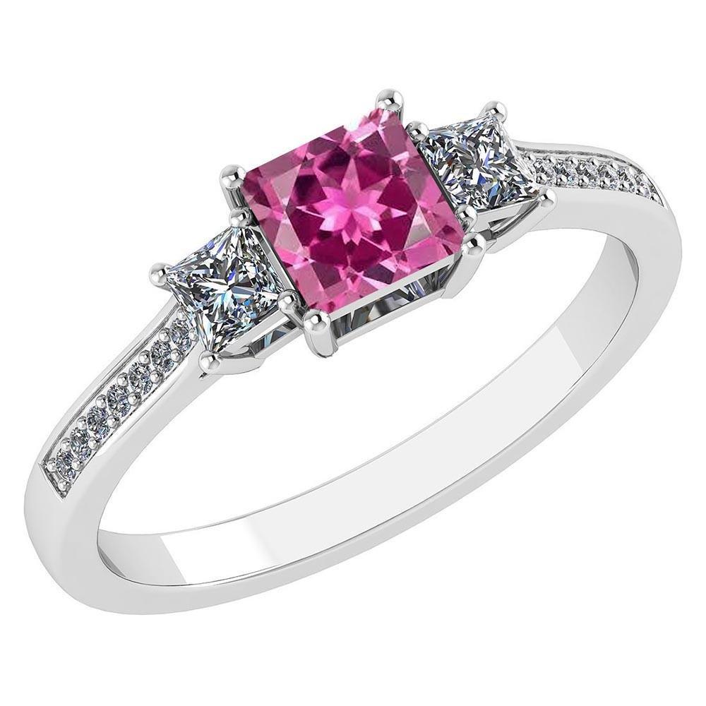Certified 1.18 CTW Genuine Pink Touramline And Diamond