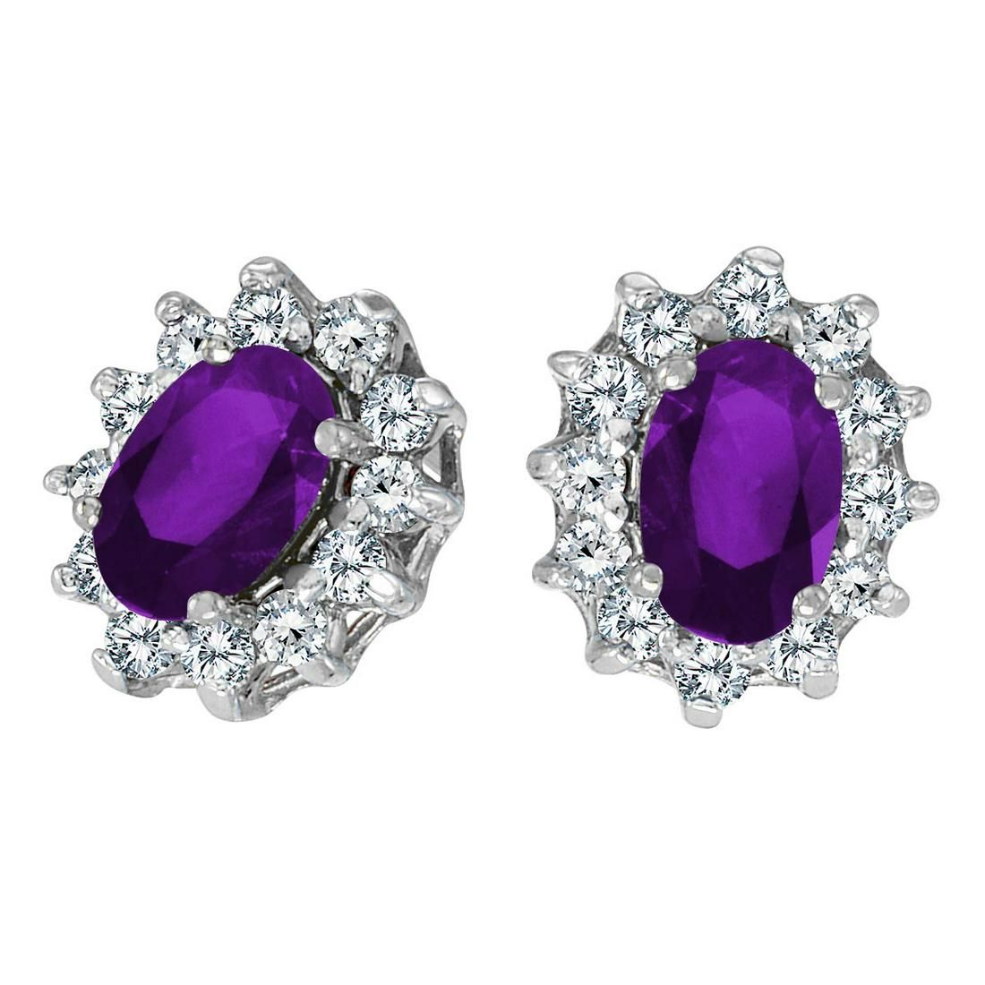 Certified 10k White Gold Oval Amethyst and 25 total CT