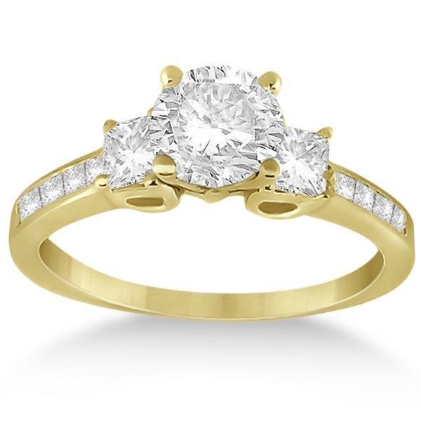 Three-Stone Princess Diamond Engagement Ring 18k 1.14ct