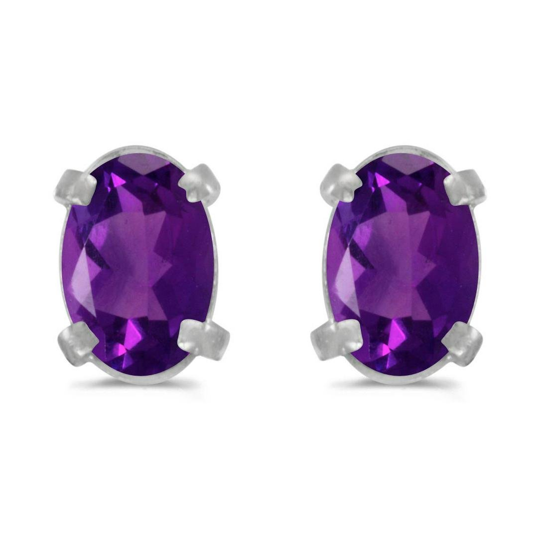 Certified 14k White Gold Oval Amethyst Earrings 0.68 CT
