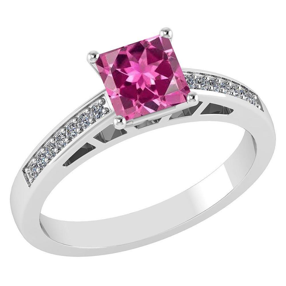 Certified .98 CTW Genuine Pink Touramline And Diamond 1
