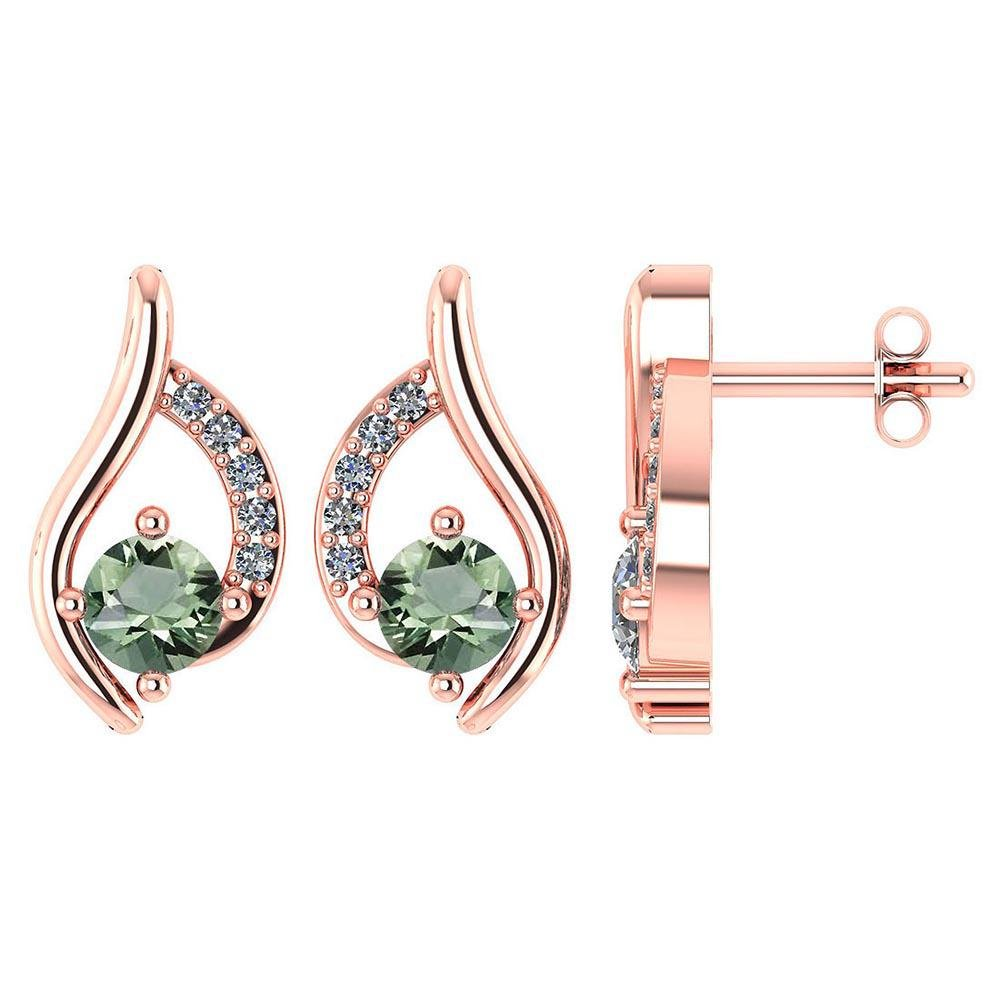 Certified .51 CTW Genuine Green Amethyst And Diamond (G