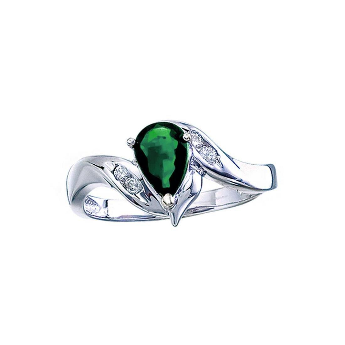 Certified 14k White Gold Pear Emerald And Diamond Swirl