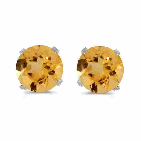 Certified 5 mm Natural Round Citrine Stud Earrings Set