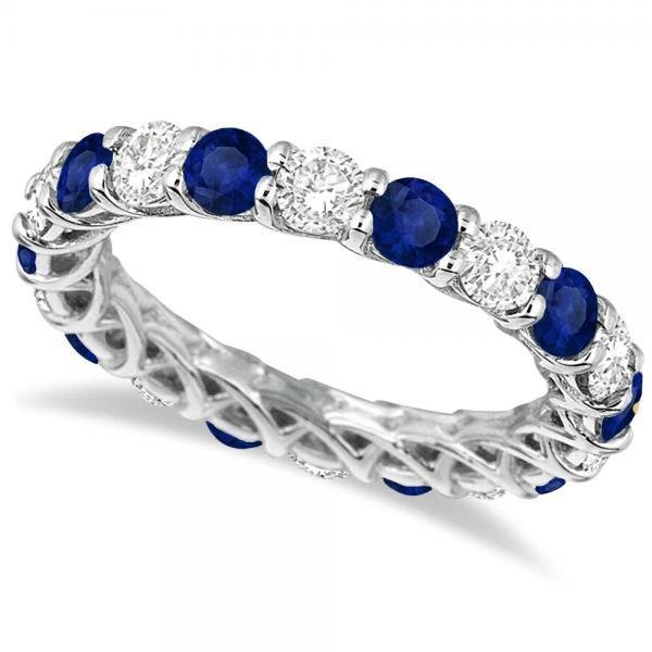 Luxury Diamond and Blue Sapphire Eternity Ring Band 14k